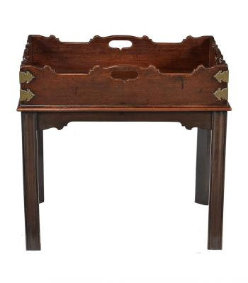 18C MAHOGANY BRASS MOUNTED GALLERIED TRAY