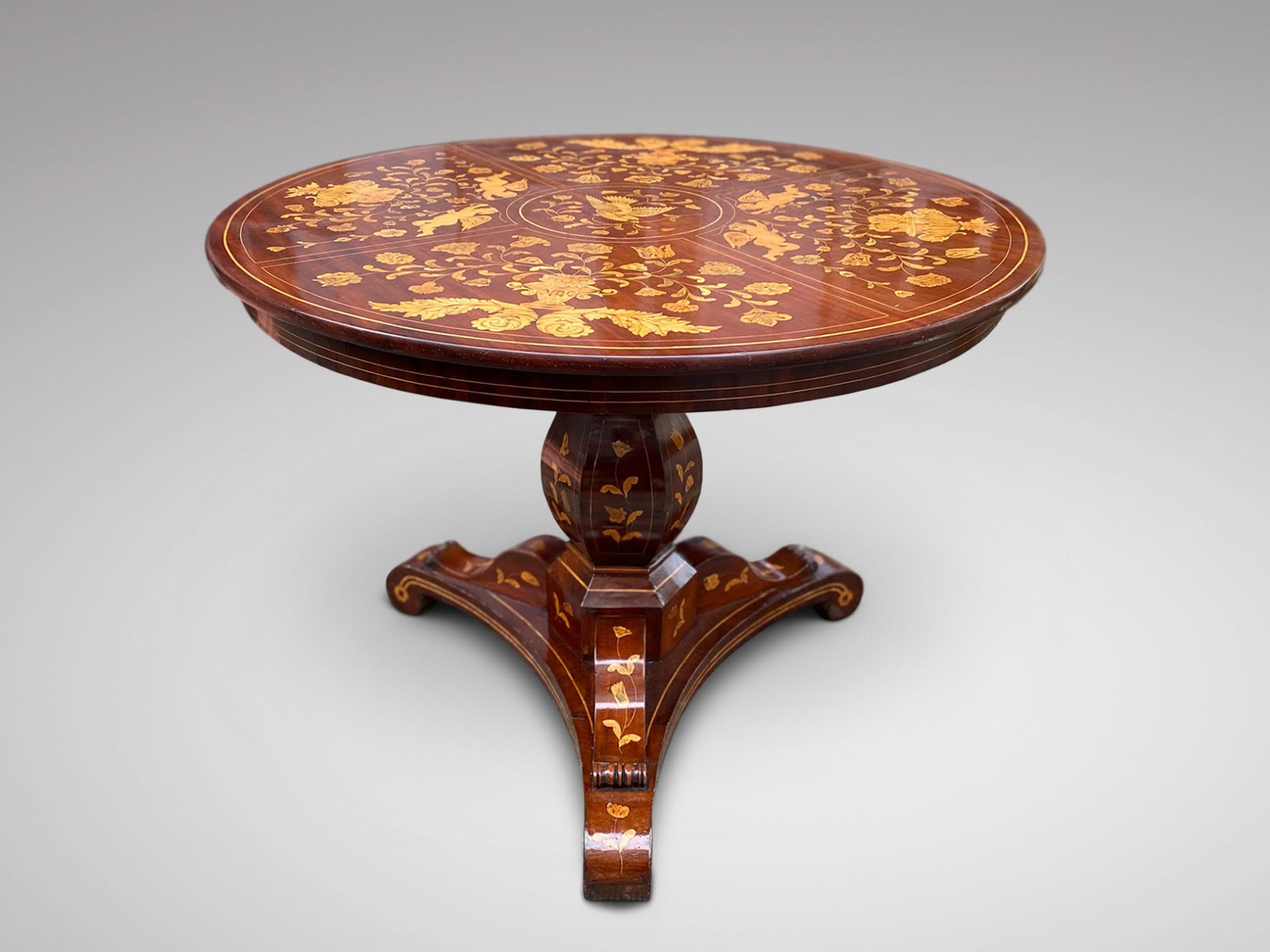 19C DUTCH MAHOGANY MARQUETRY CENTRE TABLE