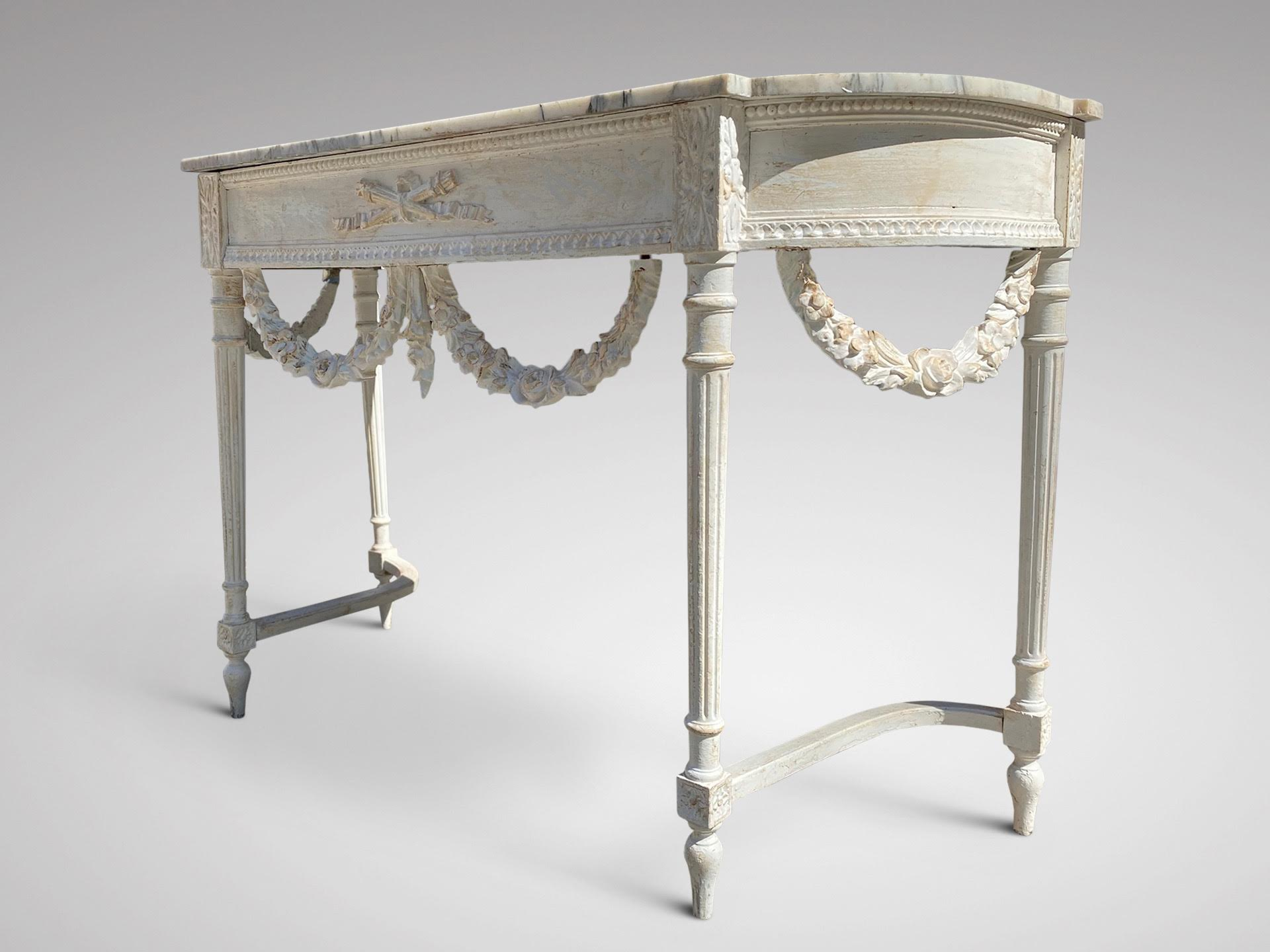 19C FRENCH CARVED PAINTED CONSOLE TABLE IN LOUIS XVI STYLE