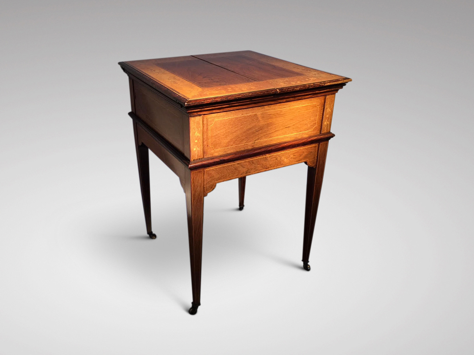 19C ROSEWOOD MARQUETRY HIDEAWAY BAR TABLE