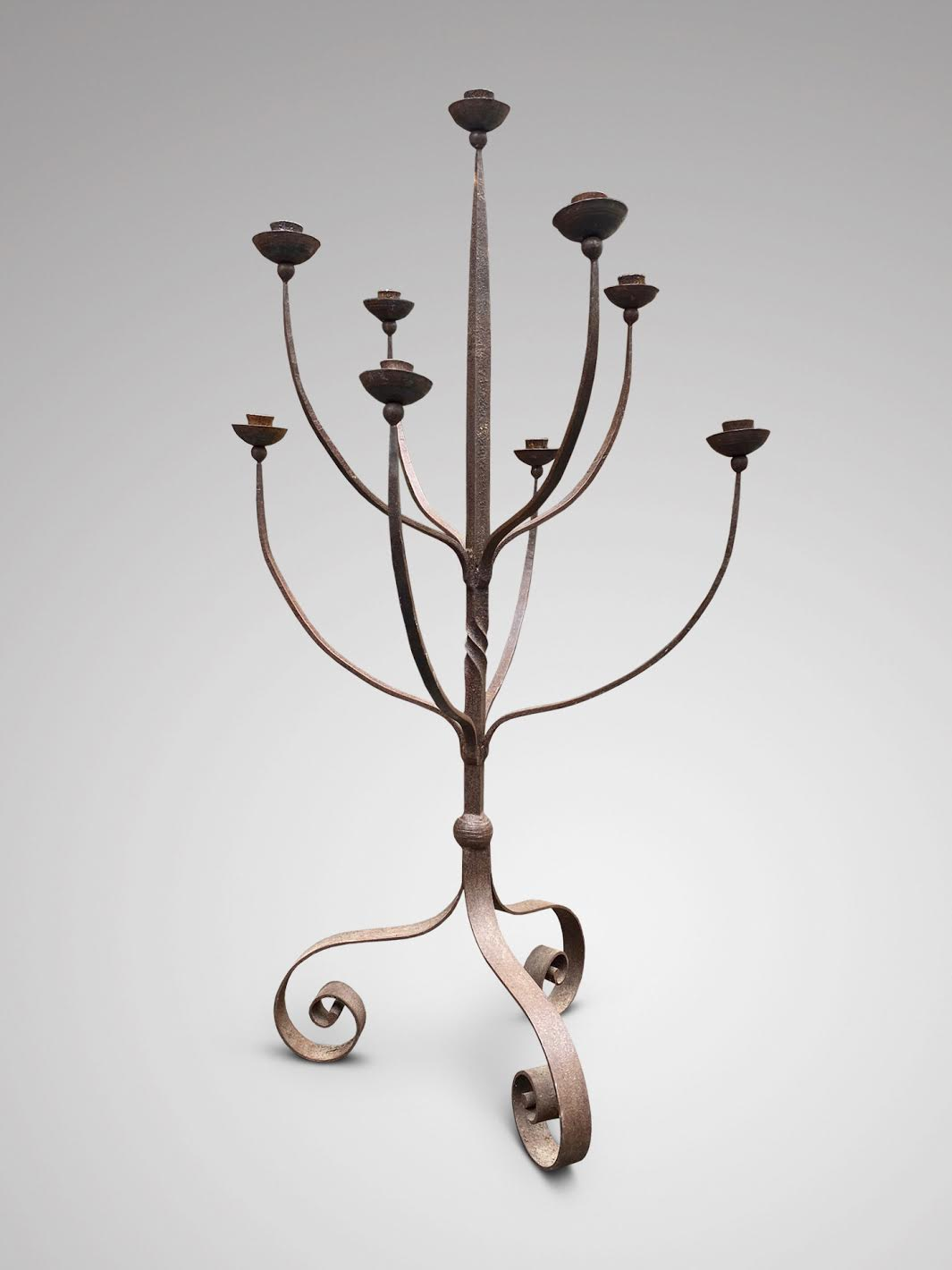 20C LARGE WROUGHT IRON STANDING CANDELABRA