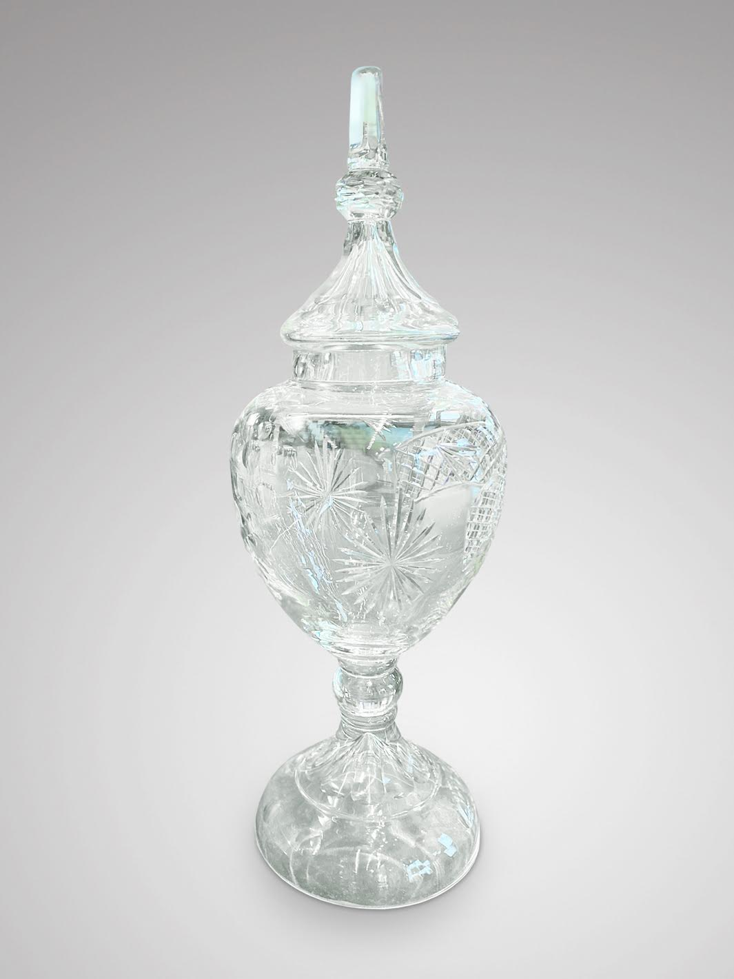 20C TALL CUT GLASS APOTHECARY VASE