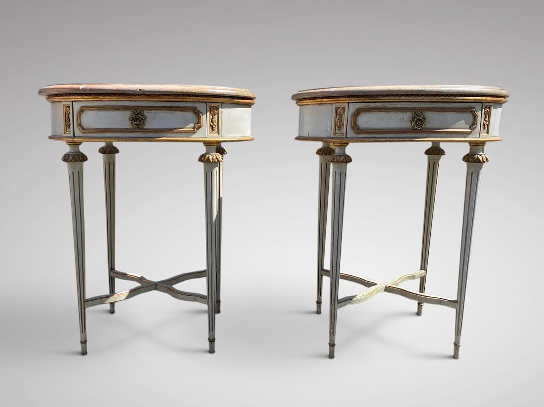 PAIR OF 19C NAPOLEON III PAINTED NIGHT TABLES