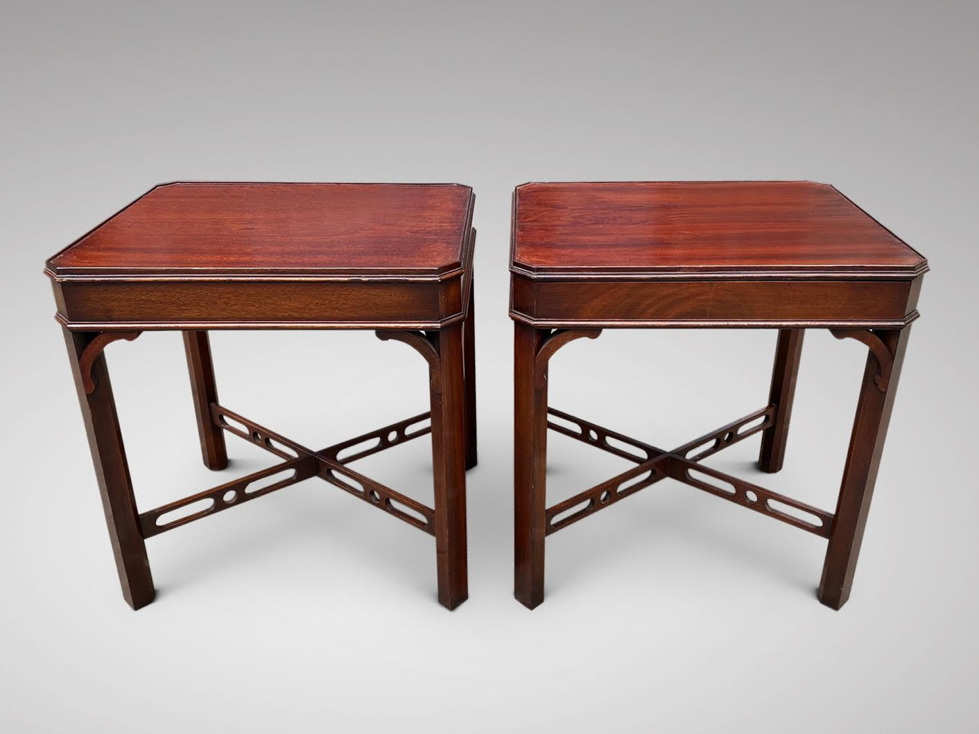 PAIR OF MAHOGANY OCCASIONAL SIDE TABLES