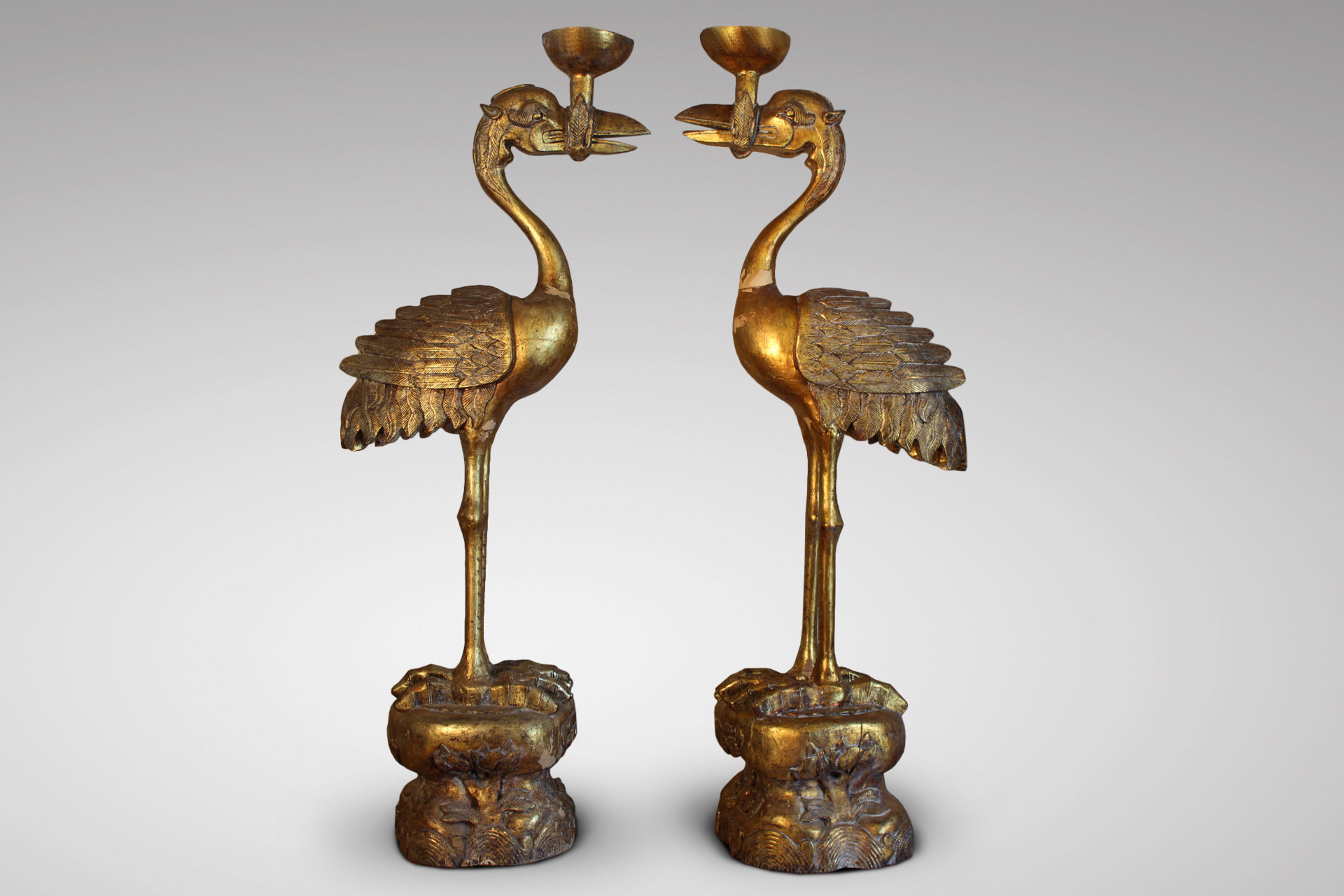 PAIR OF TALL GILTWOOD OSTRICHES