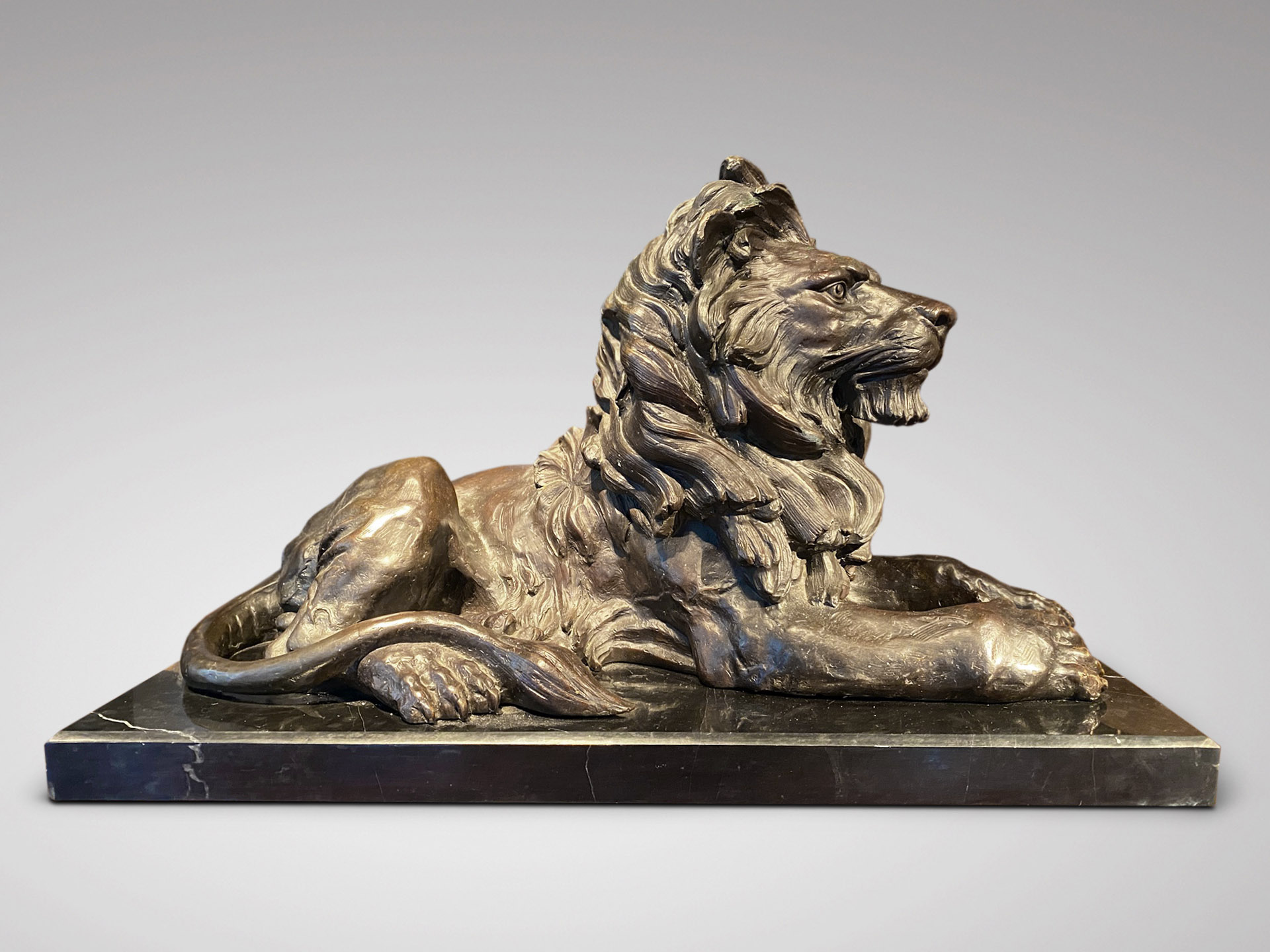SIGNED BARYE STRONG LARGE LION BRONZE STATUE