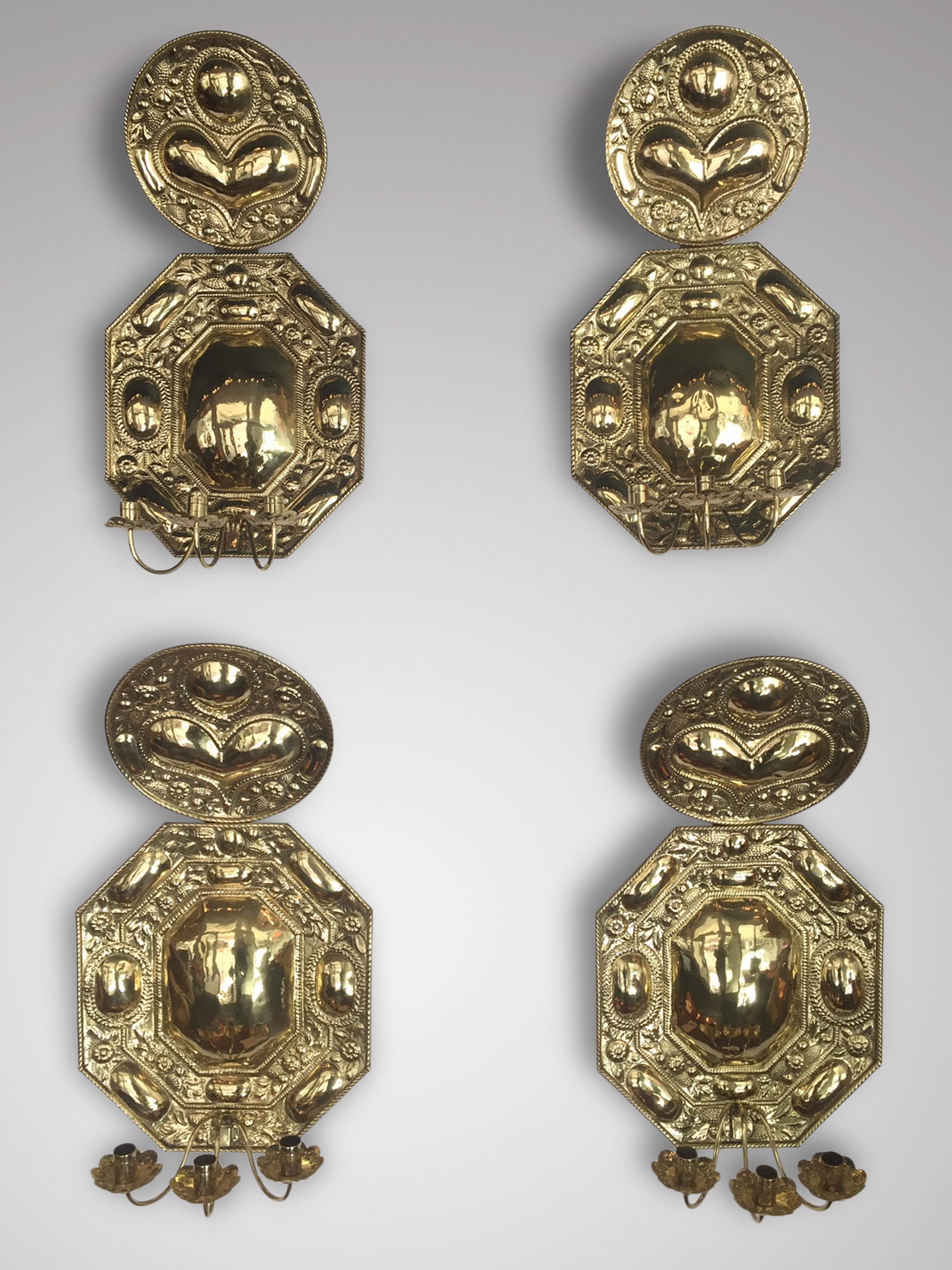 SOLD/18C SET OF 4 BRASS WALL SCONCES