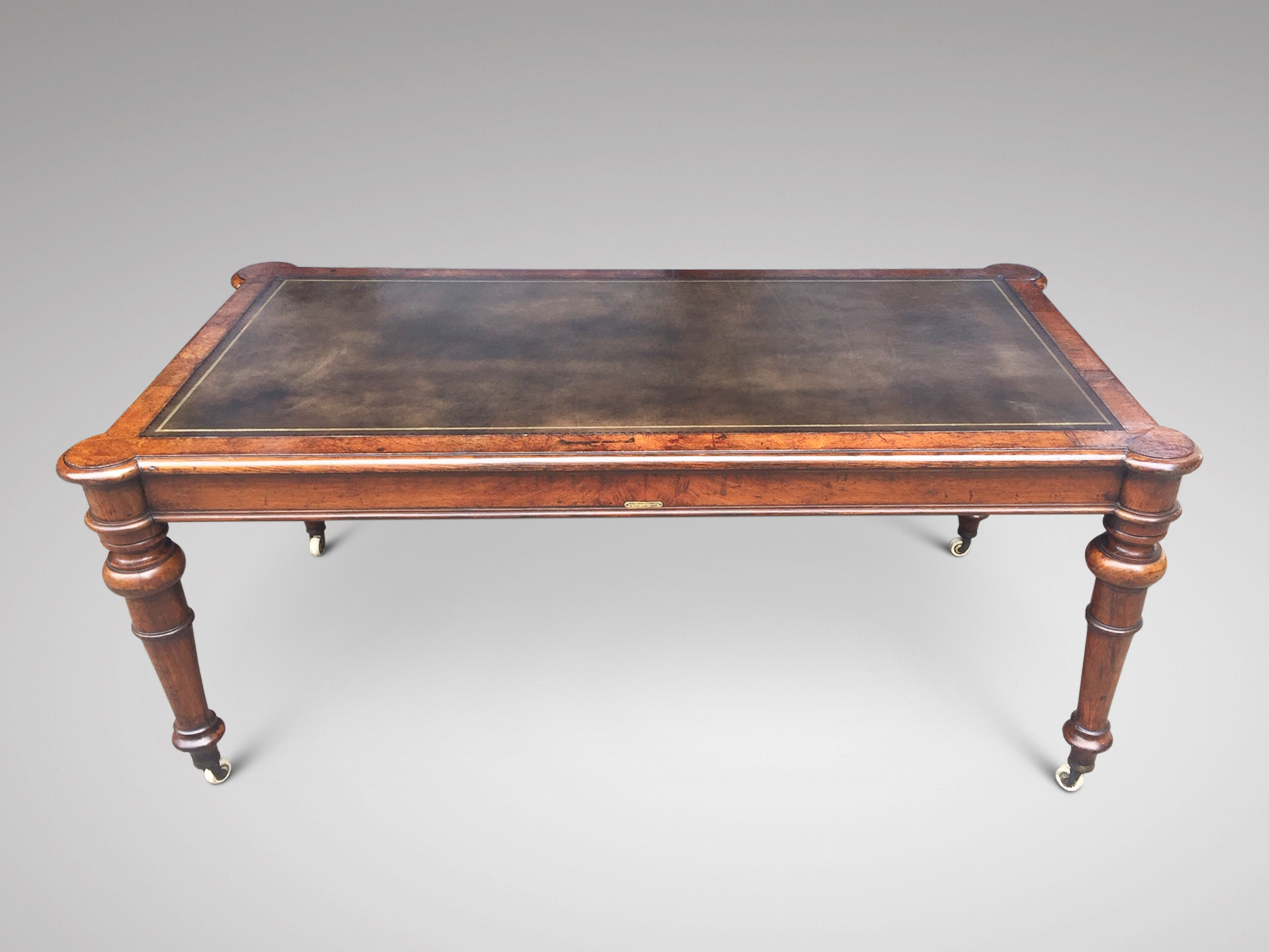 SOLD/19C BURR OAK LIBRARY TABLE