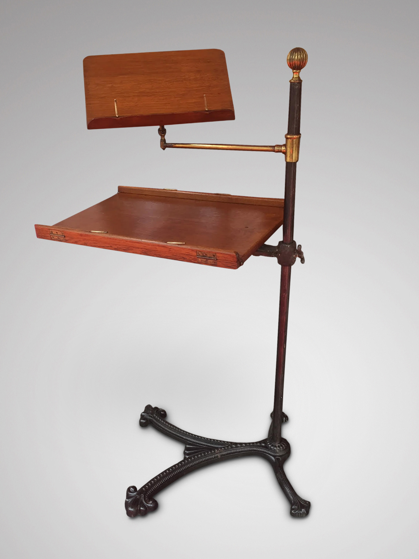 SOLD/19C CAST IRON OAK READING STAND