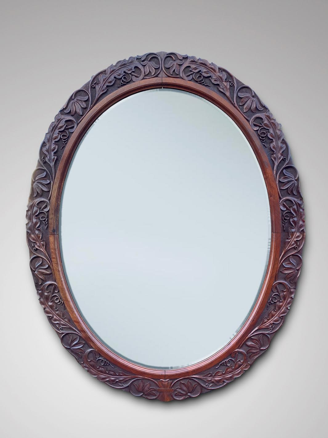 SOLD/19C LARGE OVAL CARVED MAHOGANY MIRROR