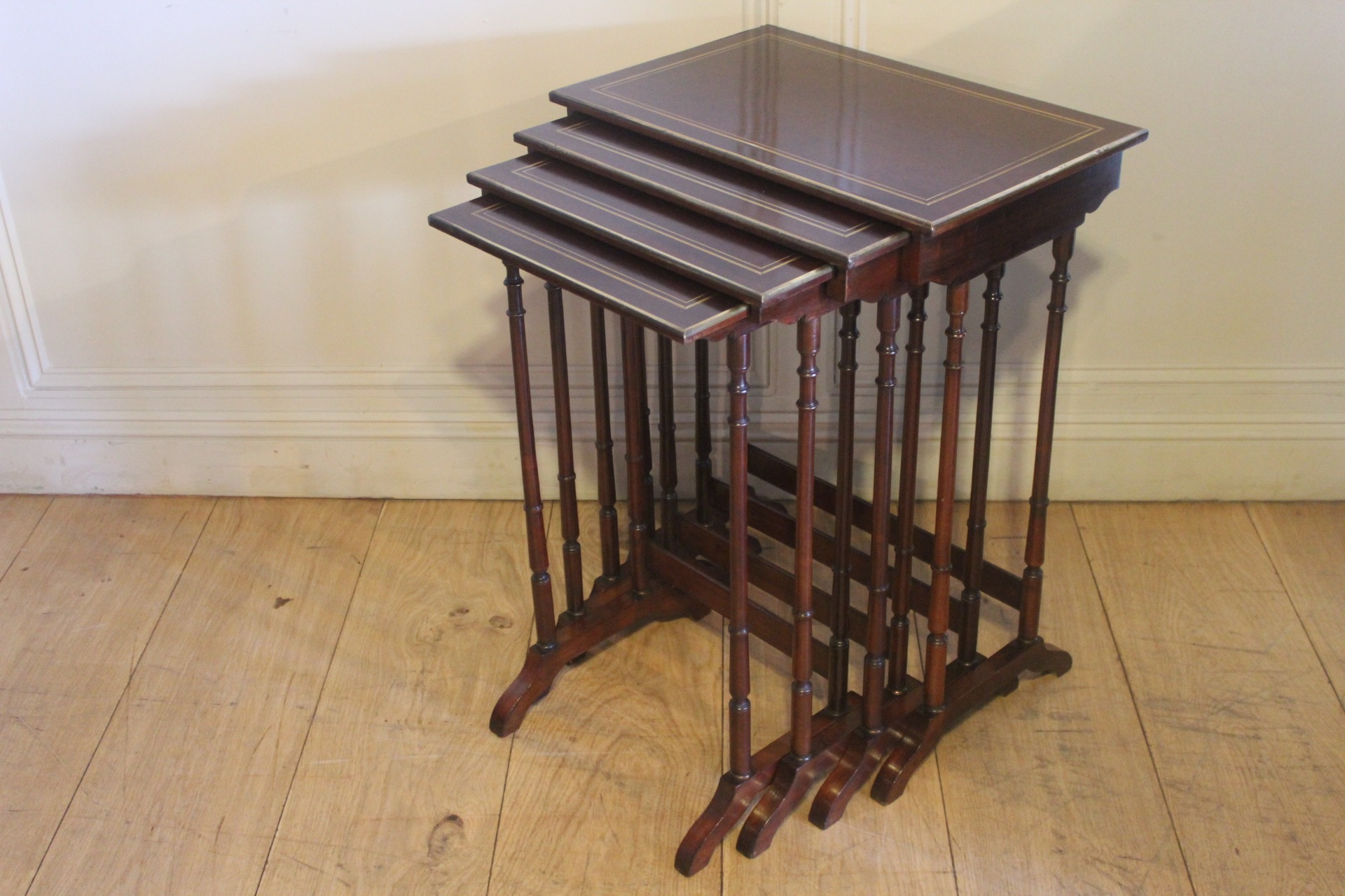 SOLD/19C MAHOGANY & BRASS INLAY NEST OF TABLES