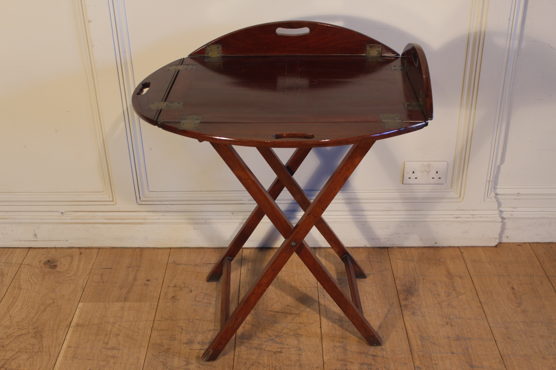 SOLD/19C MAHOGANY BUTLERS TRAY ON STAND