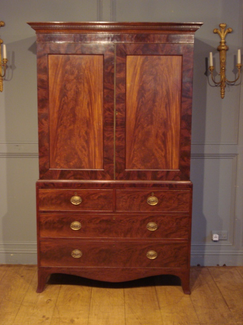 SOLD/19C MAHOGANY LINEN PRESS