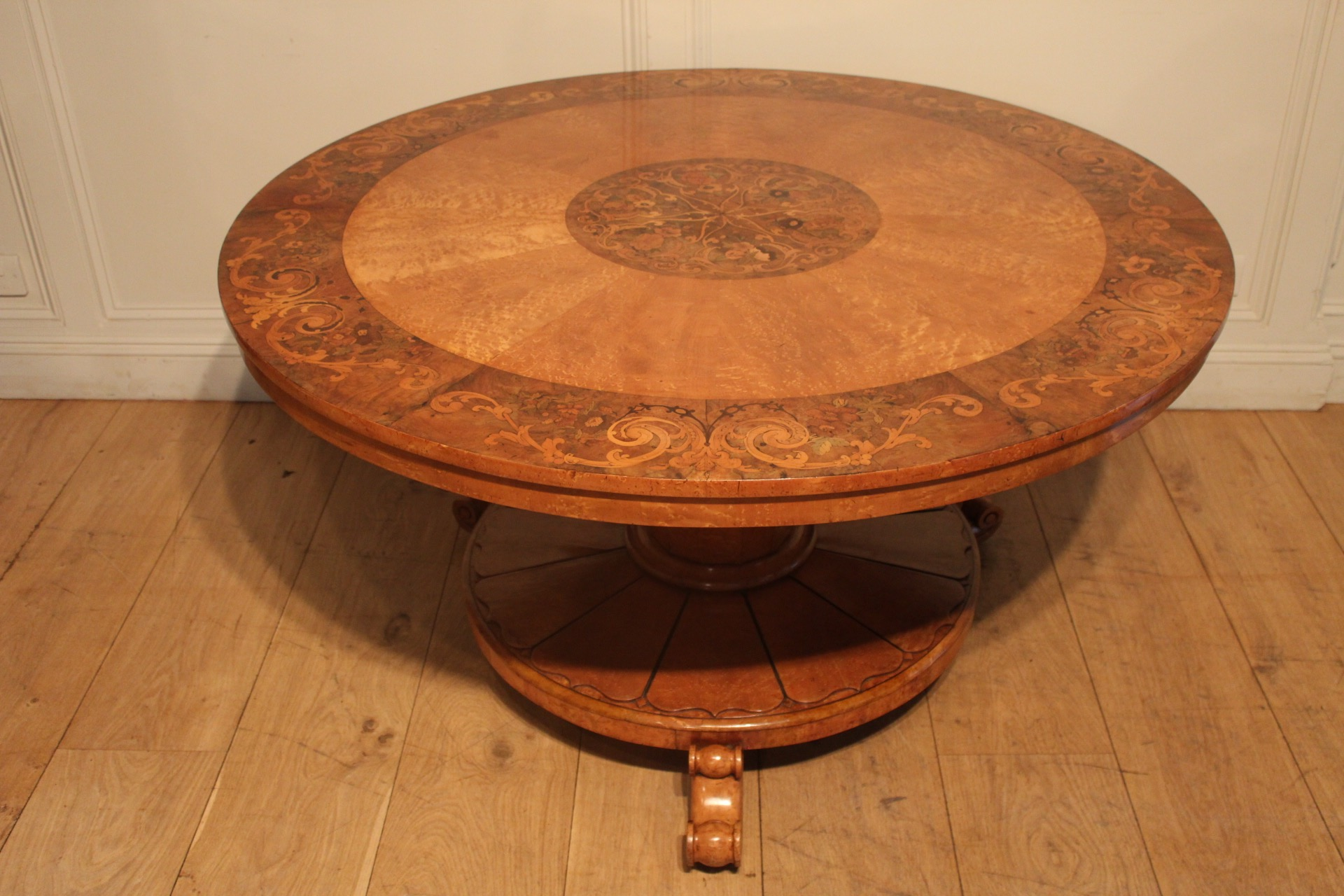 SOLD/19C MARQUETRY INLAID CENTRE TABLE