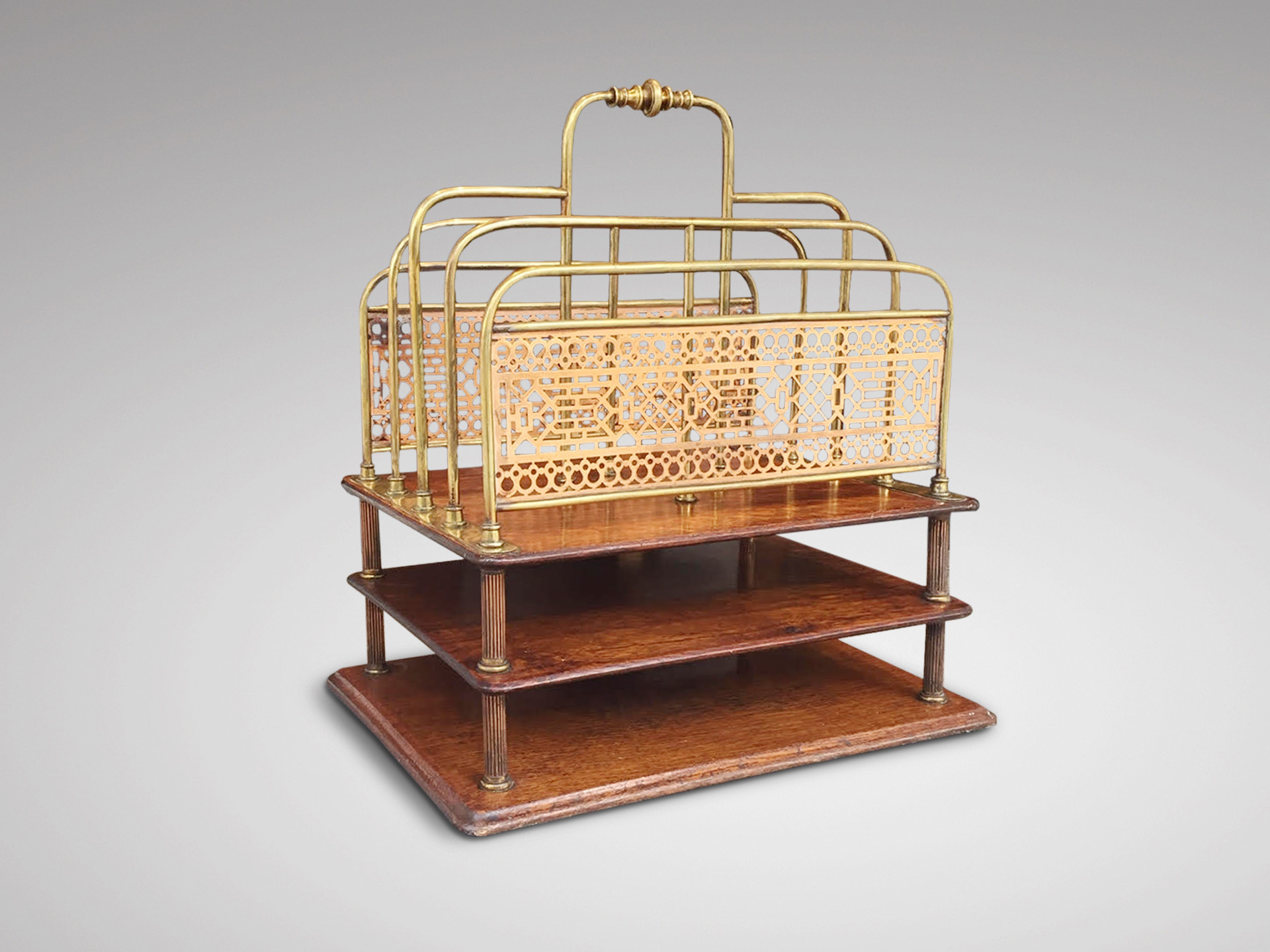 SOLD/19C OAK AND BRASS DESK STAND