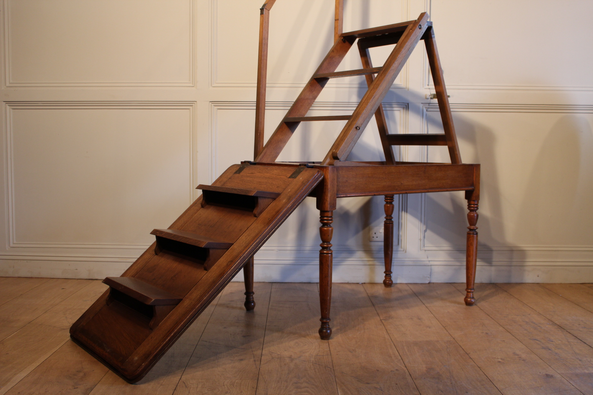 SOLD/19C OAK TALL METAMORPHIC LIBRARY STEPS