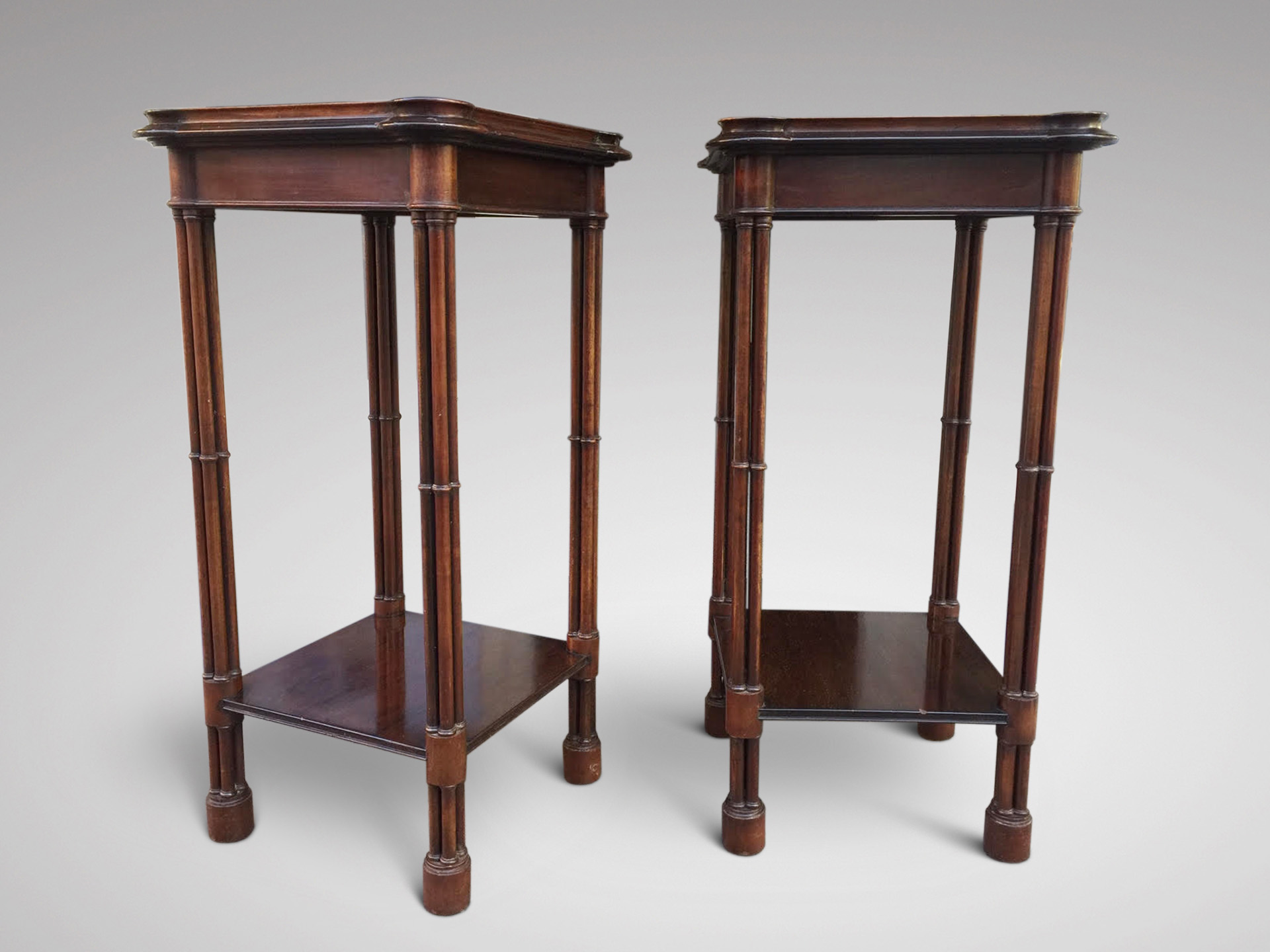 SOLD/19C PAIR OF MAHOGANY OCCASIONAL TABLES