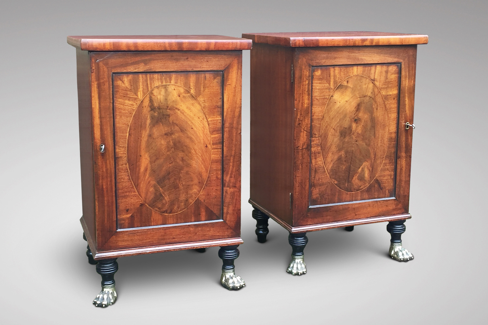 SOLD/19C PAIR OF MAHOGANY SIDE CUPBOARDS