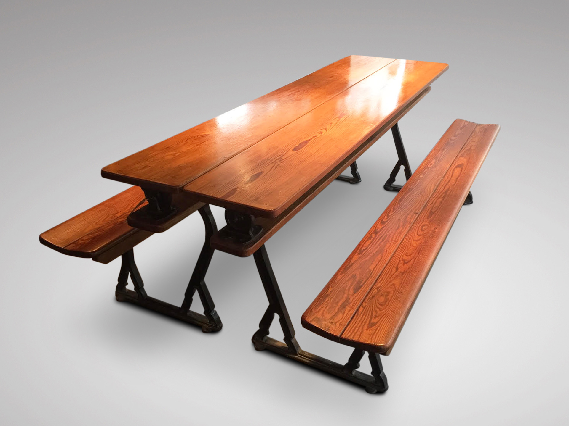 SOLD/19C PAIR OF METAMORPHIC CHAPEL BENCHES