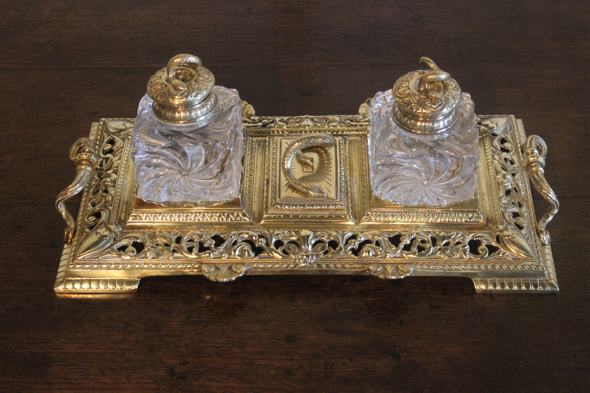 SOLD/19C STAMPED TOWNSHEND & CO. BRASS INKSTAND