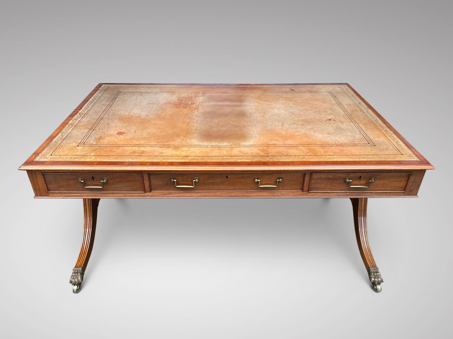 SOLD/19C STUNNING QUALITY MAHOGANY PARTNERS WRITING TABLE