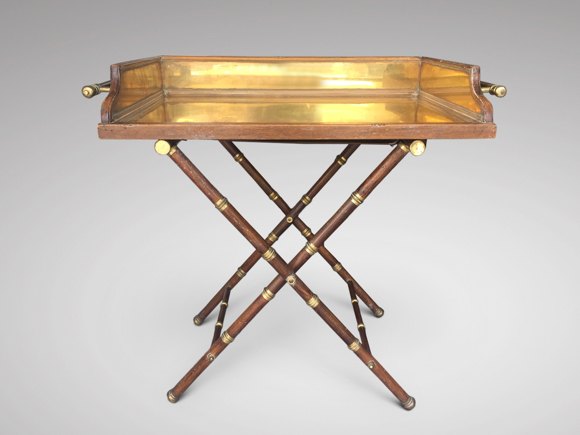 SOLD/19C WALNUT & BRASS LINED BUTLER'S TRAY