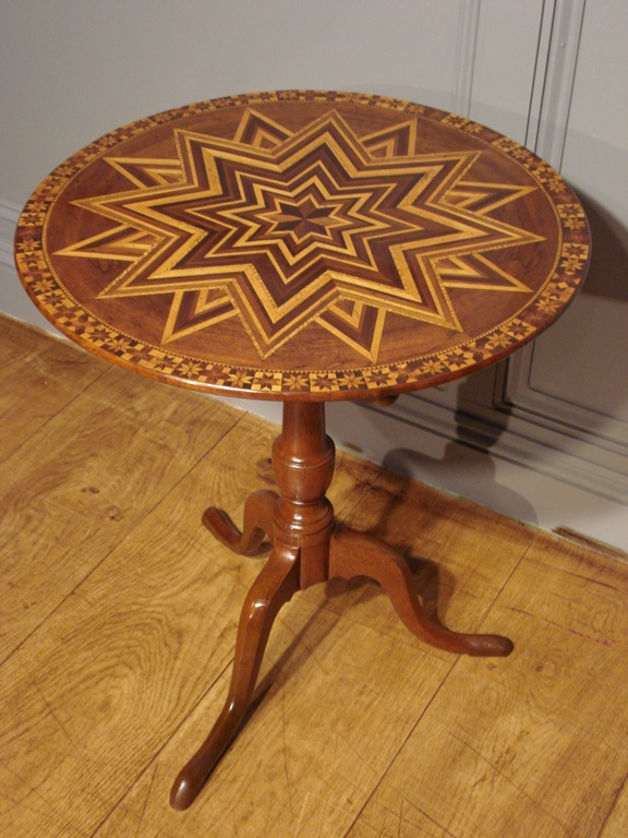 SOLD/19TH CENTURY MARQUETRY TRIPOD TABLE