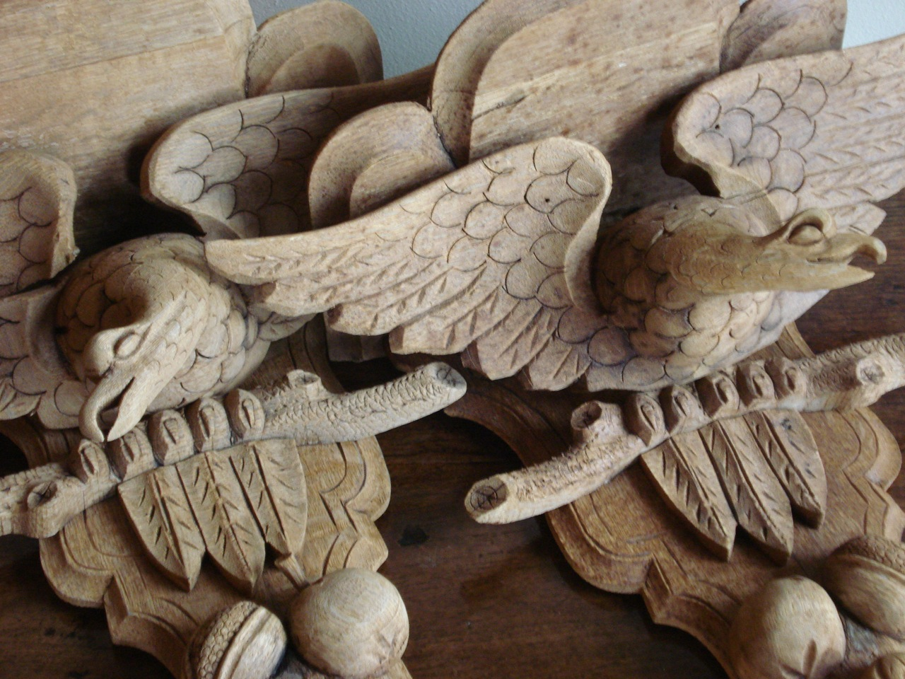 SOLD/20C CARVED WOOD WALL BRACKETS