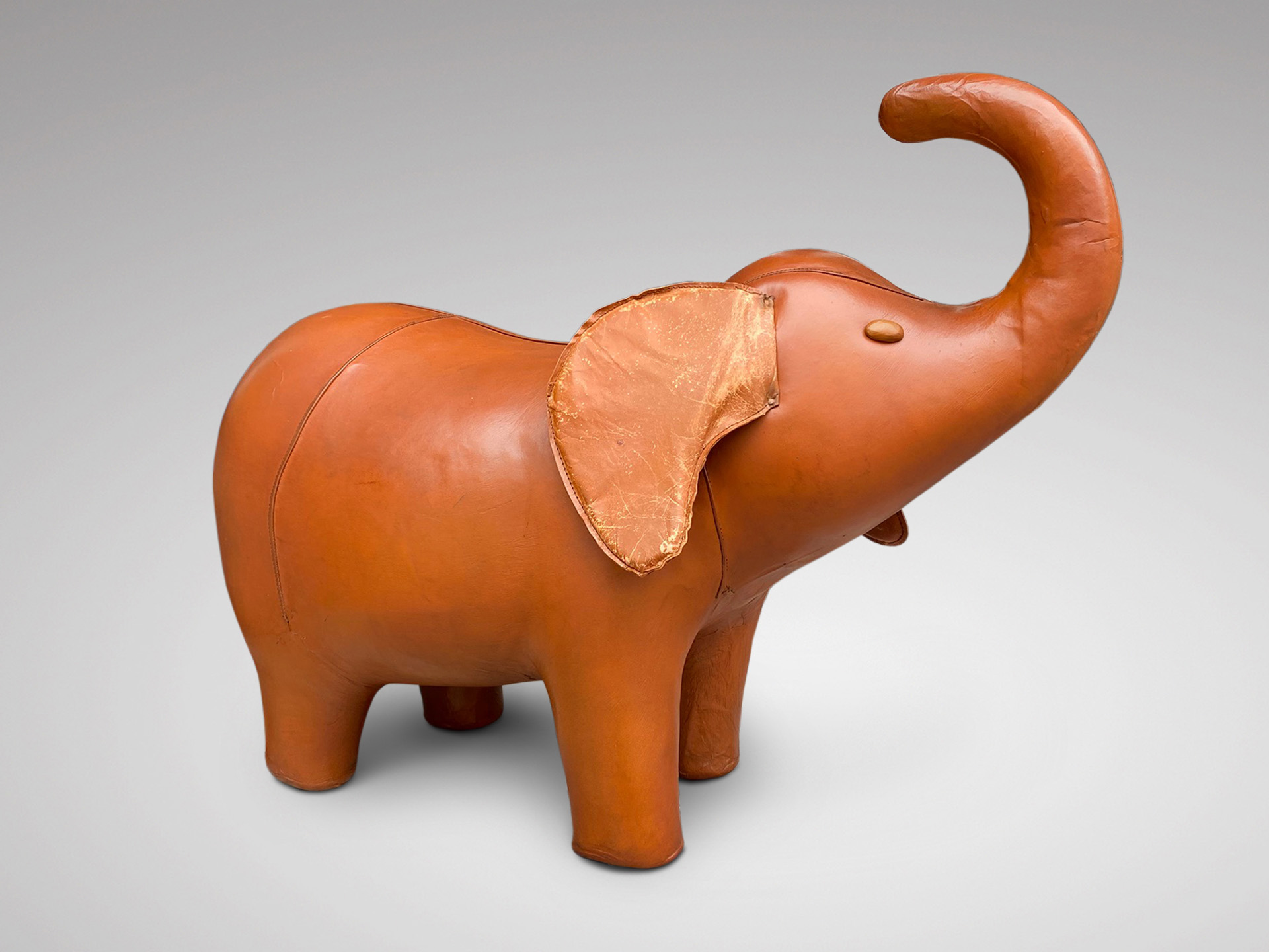 SOLD/20C LEATHER ELEPHANT FOOTSTOOL BY DIMITRI OMERSA