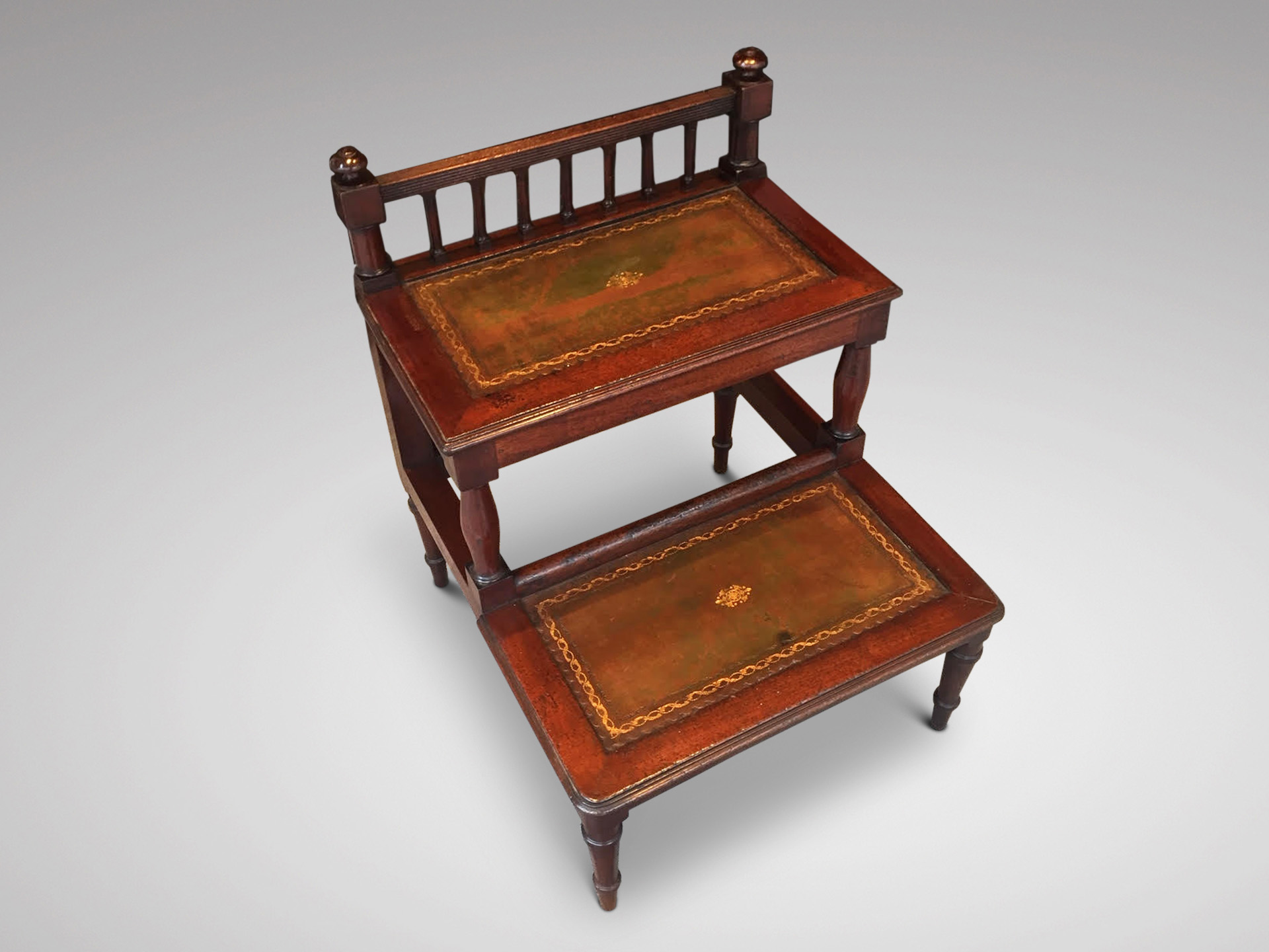 SOLD/20C MAHOGANY AND LEATHER BED STEPS