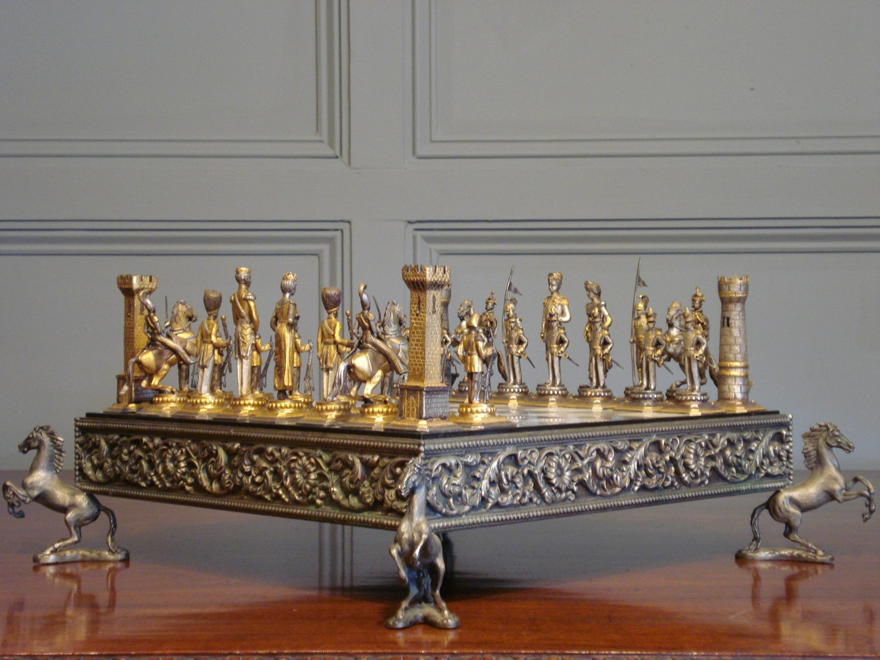 SOLD/20TH CENTURY GILT METAL CHESS SET