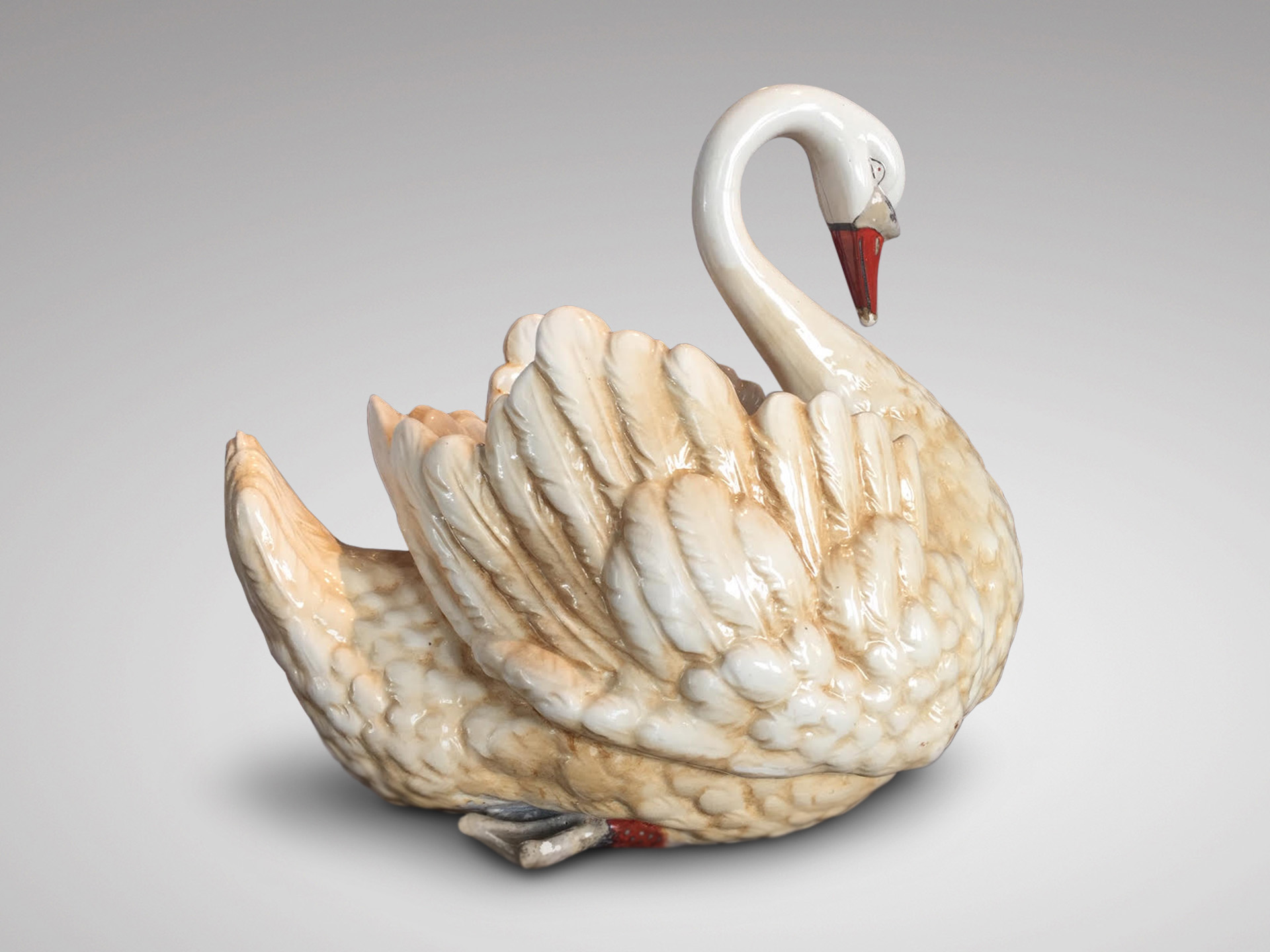 SOLD/ANTIQUE LARGE POTTERY SWAN JARDINIERE