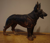 SOLD/ANTIQUE WOODEN STATUE FIGURE OF A DOG