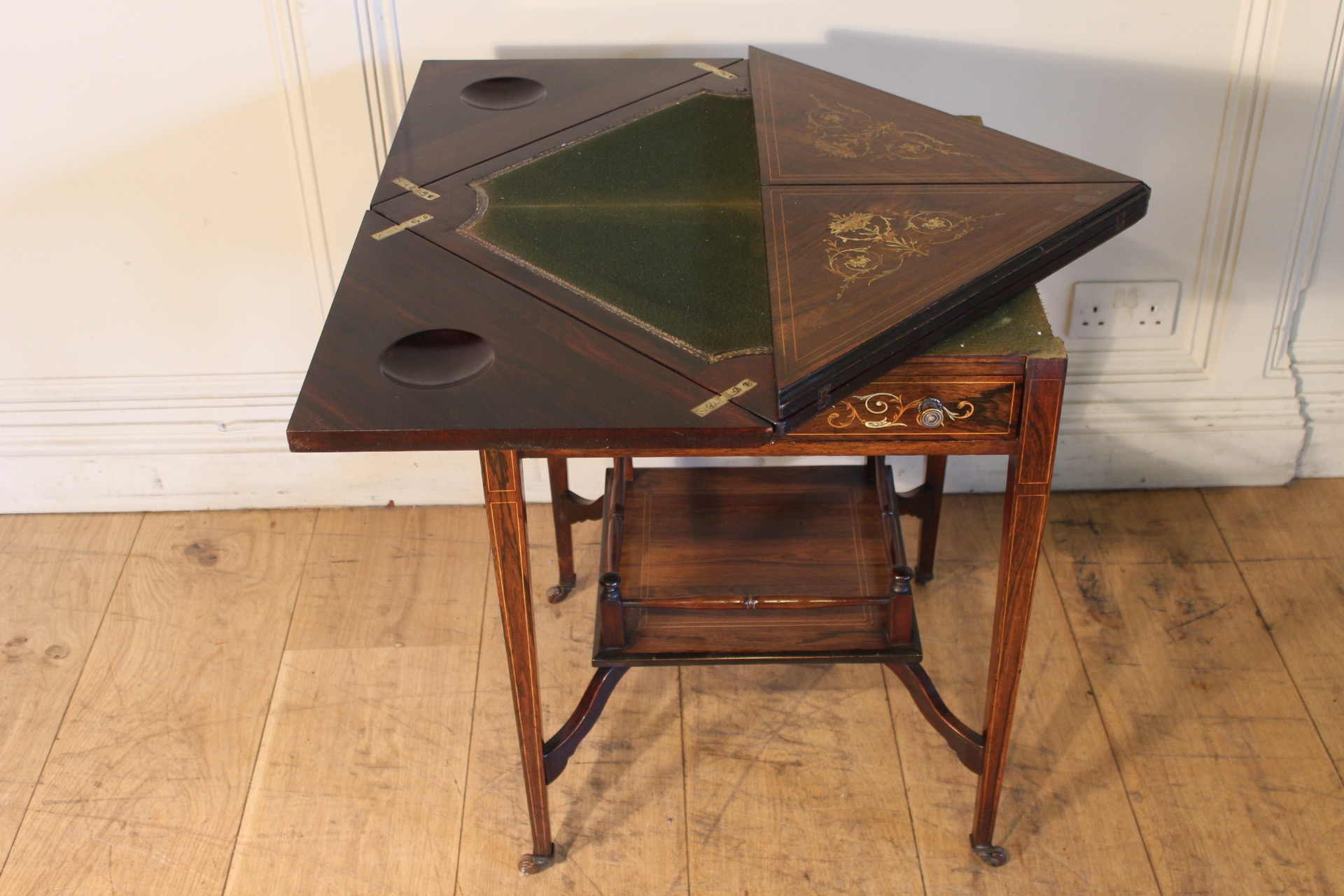 SOLD/EDWARDIAN PERIOD INLAID ROSEWOOD ENVELOPE CARD TABLE