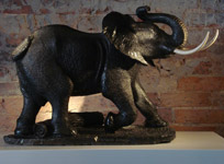 SOLD/ELEPHANT SCULPTURE IN SPRINGSTONE BY PATRICK KUTINYU