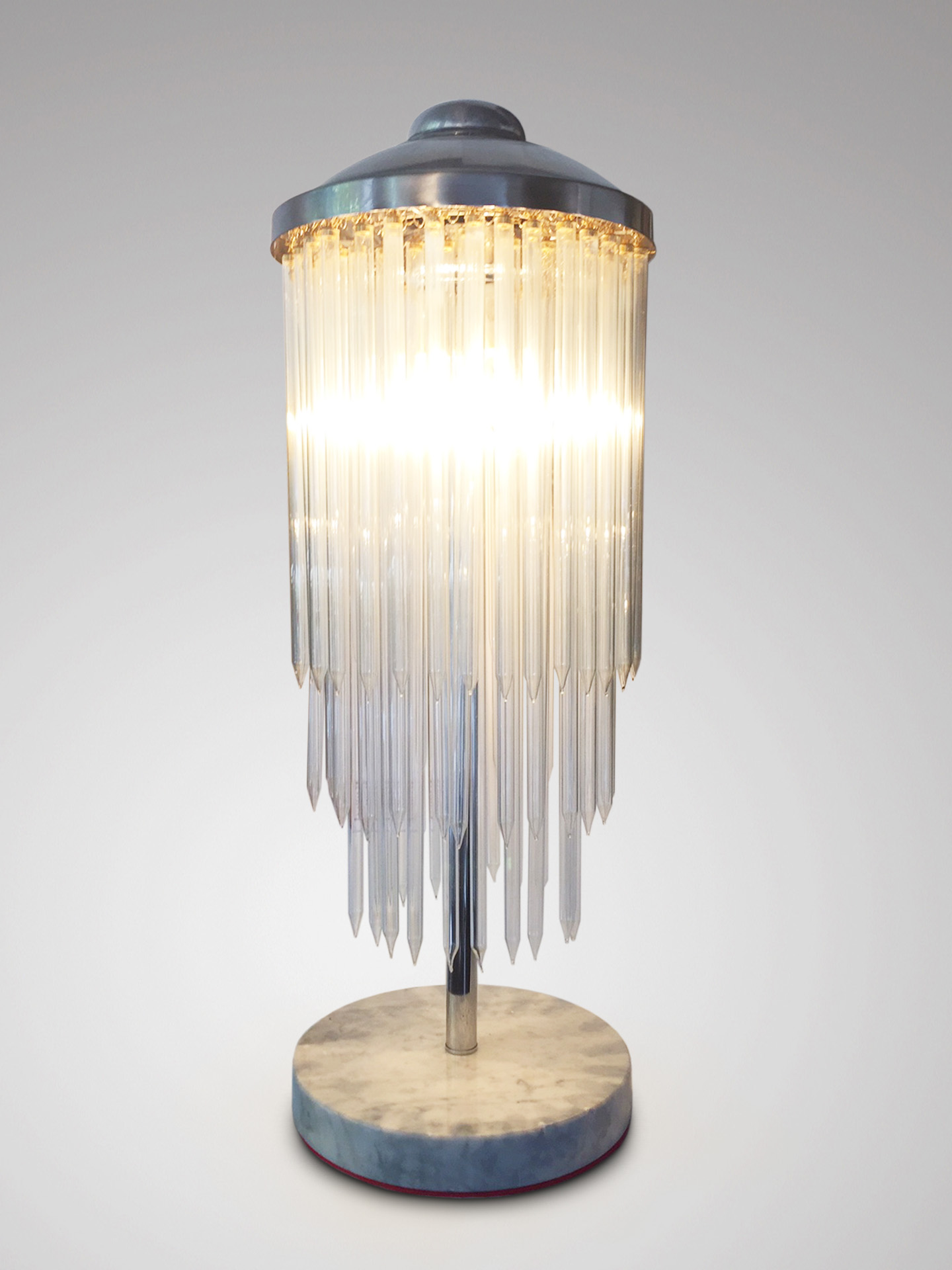 SOLD/MID 20C ITALIAN VINTAGE DROP TUBE GLASS TABLE LAMP