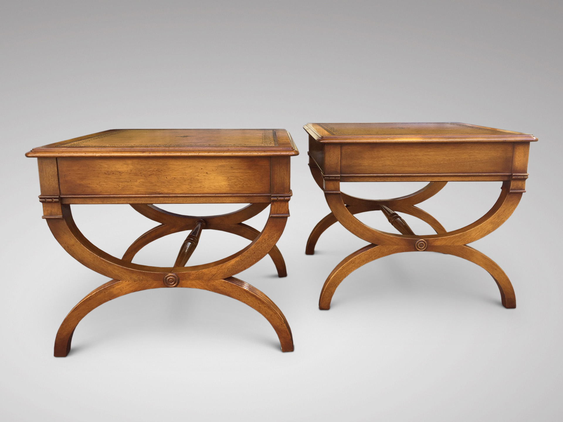 SOLD/PAIR OF 20C MAHOGANY SIDE TABLES
