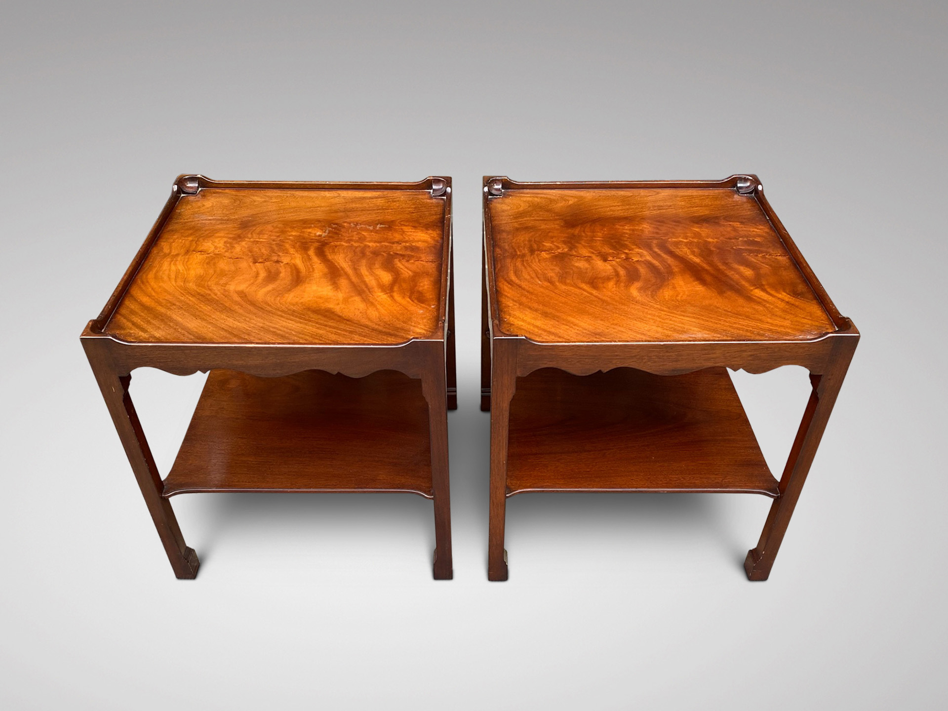 SOLD/PAIR OF 20C MAHOGANY SIDE TABLES BY SMITH & WATSON