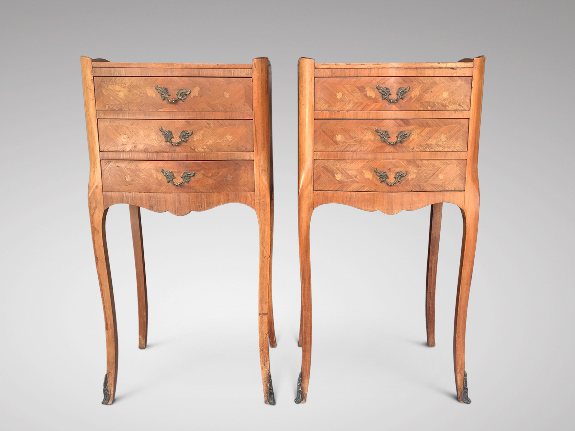 SOLD/PAIR OF FRENCH WALNUT MARQUETRY BEDSIDE TABLES