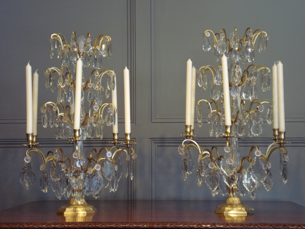 SOLD/PAIR OF GIRANDOLES OR TABLE CHANDELIERS