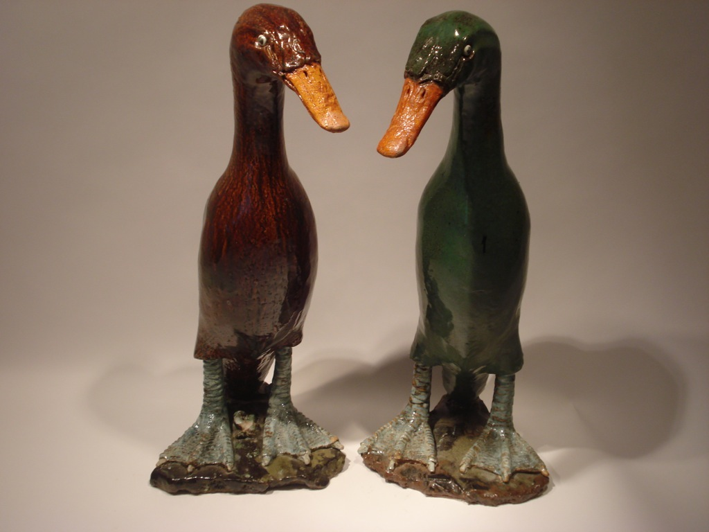 SOLD/PAIR OF LARGE POTTERY DUCK FIGURES