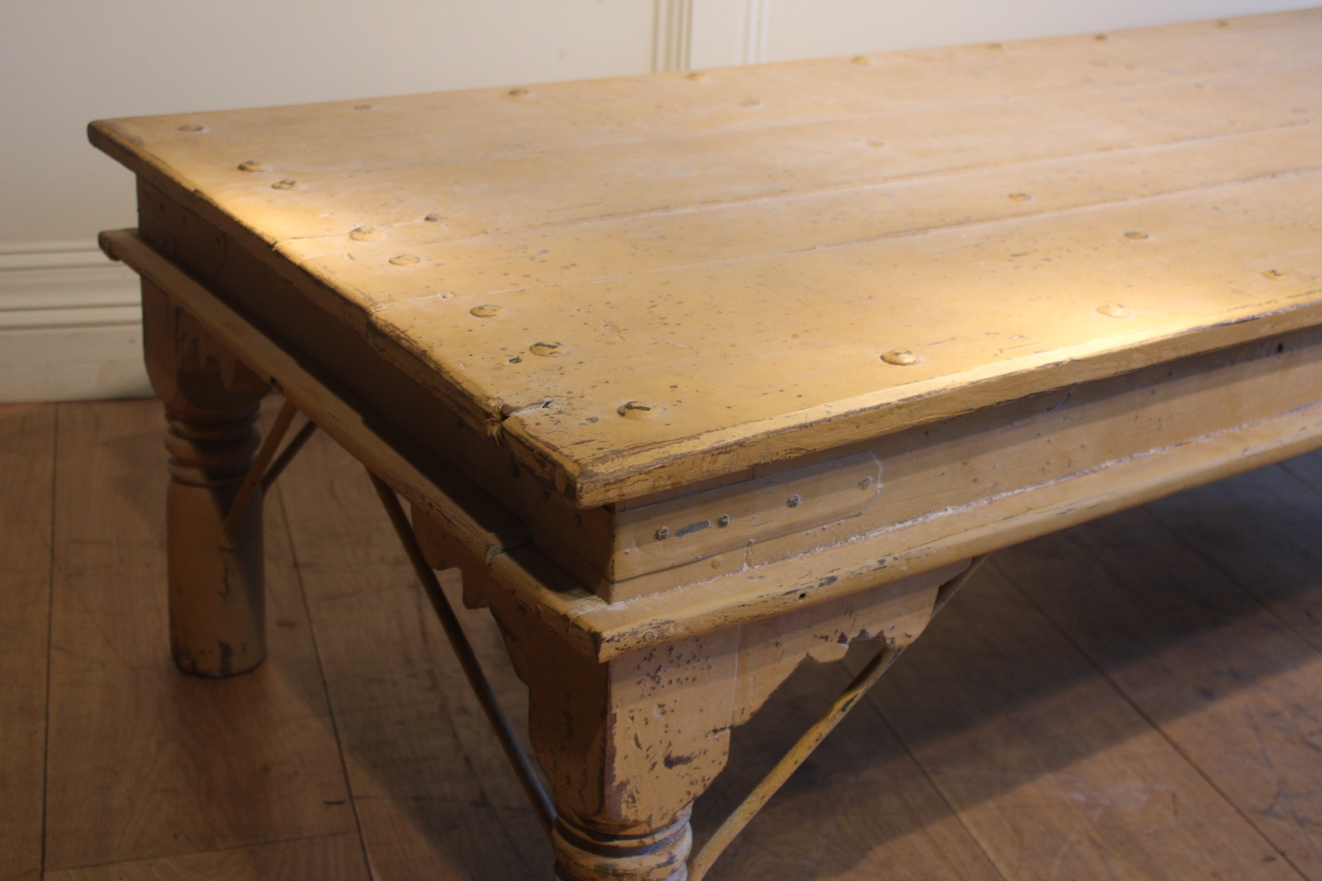 SOLD/YELLOW INDIAN COFFEE TABLE